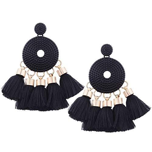 (Vintage Punk Boho Bohemian Thread Tassel Jewelry Alloy Dangle Drop Earrings Ethnic Geometric Charms Eardrop (Black))