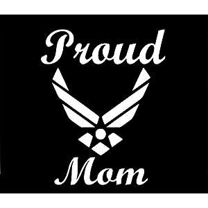 Proud Air Force Mom Decal Vinyl Sticker Cars Trucks Walls Laptop WHITE 5.5 In URI264