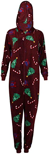 PurpleHanger Women's Reindeer Christmas Jumpsuit Playsuit Burgundy S 4-6