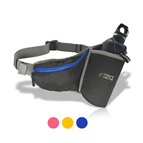 fitter's niche Hydration Fanny Pack, Water Bottle Holster Holder Running Belt for Men Women, fits iPhone Xs 8 Samsung, Reflective Water Resistant Waist Bag, Ideal for Hiking Travel Trips Outdoors