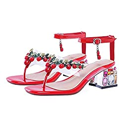 T-Strap Leather Sandals With Crystal High Heels