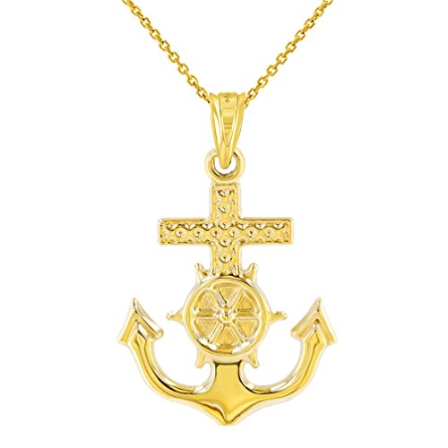 Polished 14K Yellow Gold Anchor Charm with Mariner's Cross Nautical Pendant Necklace, 18'' by JewelryAmerica