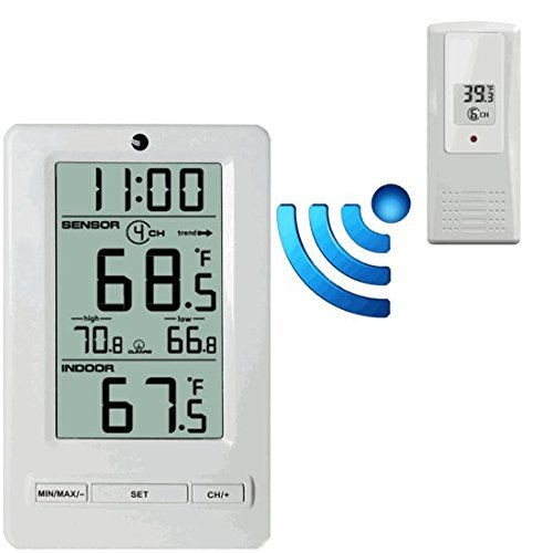 - Ambient Weather 8-Channel Wireless Thermometer with Min/Max Display WS-0802
