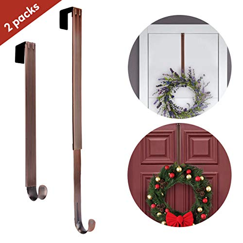 AnCintre Wreath Hanger, 2 Pack Adjustable Length from 15'' to 25'' Wreath Hanger for Front Door Heavy Duty with 20LB Metal Door Hooks Holder for Christmas Decorations by AnCintre