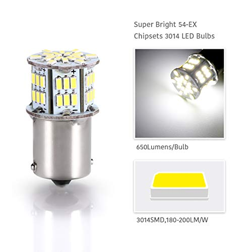 New generation 12-24v !Super Bright Low Power !5 x 650 Lumens 1156 1141 1003 3014 54smd Led Light bulb Use for Back Up Reverse Lights,Brake Lights,Tail Lights,Rv lights Warm White