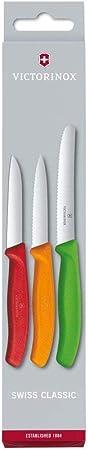 Victorinox - Juego de Cuchillos para verdura (3 Piezas, inoxidables, Aptos para lavavajillas), Color Rojo, Naranja y Verde