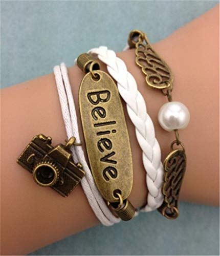 - New Infinity Camera Wings Ancient Bronze Leather Charm Bracelet