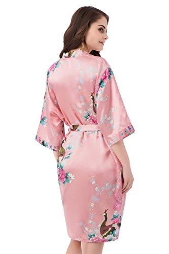 gusuqing Women s Printing Peacock Kimono Robe Short Sleeve Silk Bridal Robe  Magenta XL 9f5fe935b