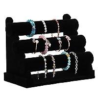 DISTILL 3 Tier Black Velvet Bracelet Holder- Bracelet Stand for Jewelry Organization and Display