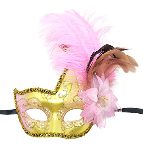 Costume Mask Feather Masquerade Mask Halloween Mardi Gras Cosplay Party Masque (Gold Pink) -