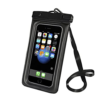 "EXCEL-LEADER Waterproof Phone Case,Floatable Universal Waterproof Phone Pouch with Armband,Lanyard and Audio Jack for Outdoor Activities for up to 6.0"" Diagonal,Black"