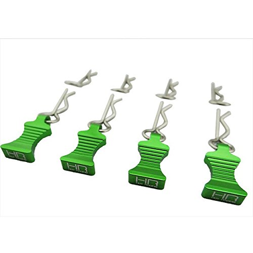 Hot Racing AC03EZ05 1/10 Green Aluminum Ez Pulls (4) Body Clips (8)