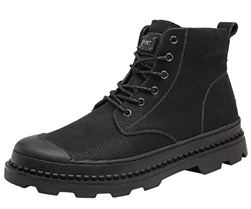 Mens Combat Boot Leather Dress Oxford Casual Fashion Waterproof Outdoor Winter Lace-Up Ankle Snow Chukka Boots Black