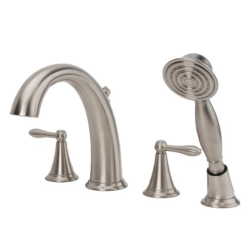 Fontaine by Italia BRN-MBDRT-BN Montbeliard 2-handle Roman Tub Faucet with Handheld Shower in Brushed Nickel