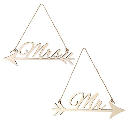 UEETEK Mr and Mrs Photo Props Bride and Groom Wedding Arrow Chair Sign Bunting Banner