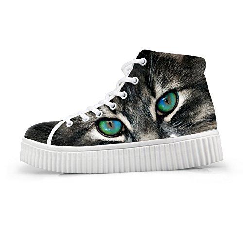 Abbracci Idea Moda Gatto Faccia Stampa Donna Sneakers Scarpe Alte Piattaforma Cat Face 4