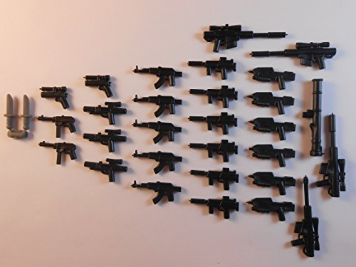 30 Guns for Lego Mini Figures. New. Knifes Trooper Halo Star Wars City Guns