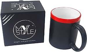 My Custom Style® Taza de Pizarra con Borde de cerámica roja. PRESTIGIOSO Estuche DE Regalo Y Pizarra Incluido EN EL Precio.