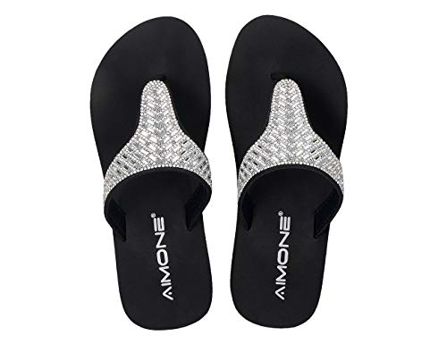 AIMONE Shiny Bling Flip Flops for Women Rubber Low Heel Black Beach Thong Sandals