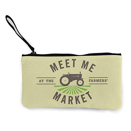 Canvas Pencil Case - The Farmers Market Durable Cosmetic Makeup Bag Zipper Closure Coin Purse Wallet Phone Pouch with Handle for Women Kids Adults