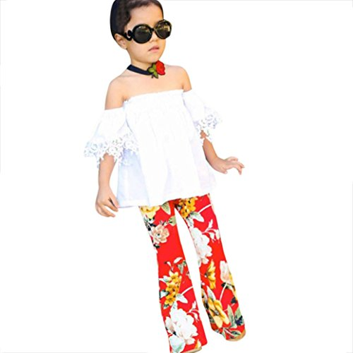 Goodlock Toddler Kids Fashion Clothes Set Baby Girls Off Shoulder Lace Tops+Flowers Bell-Bottoms Outfits Set 2Pcs (Size:5T) (Bell Gold Glitter)