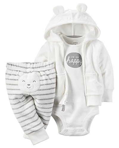 [Carter's 3 Piece Terry Cardigan Set (Baby) I'm So Happy White 6 Months] (Baby Designer Clothes)
