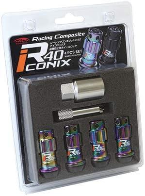 新品*YIF4-1NR*Racing Composite R40 iCONIX Lock 4pcs SET (M12×P1.5) (Resin Cap)*ネオクローム*樹脂キャップ レッド*(ロックのみ)