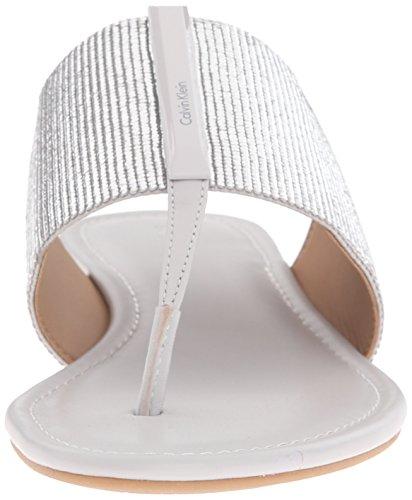 Calvin Klein Mujer Bonni Flip Flop Silver-Oyster