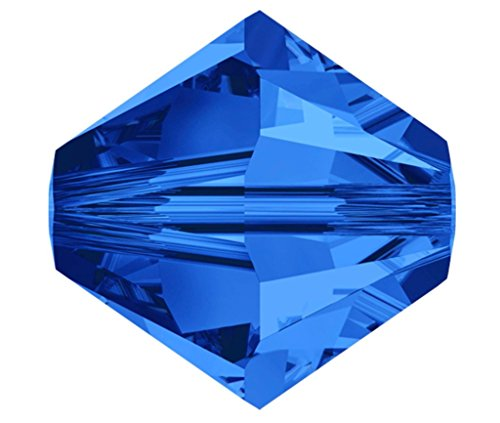 100pcs x Preciosa Bicone Crystal Beads 6mm Sapphire Blue Alternatives For Swarovski #5301/5328 (Swarovski Crystal Tube Bracelet)
