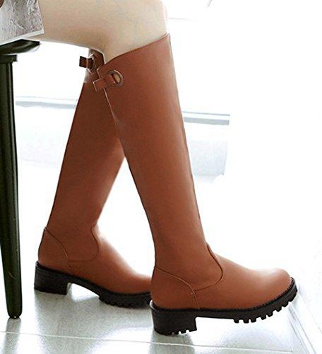 Aisun Womens Trendy Simple Bout Rond Plate-forme Slip Sur Chunky Bas Talons Genou Haute Haute Bottes Marron