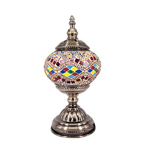 (Kindgoo Turkish Mosaic Lamp Decorative Handmade Unique Glass Bedside Table Lamp Led Bulb Included (Yellow))