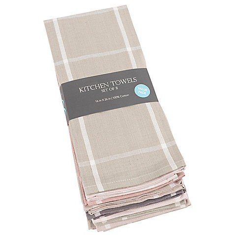 KAF Home Chambray Striped 8-Pack Kitchen Towels