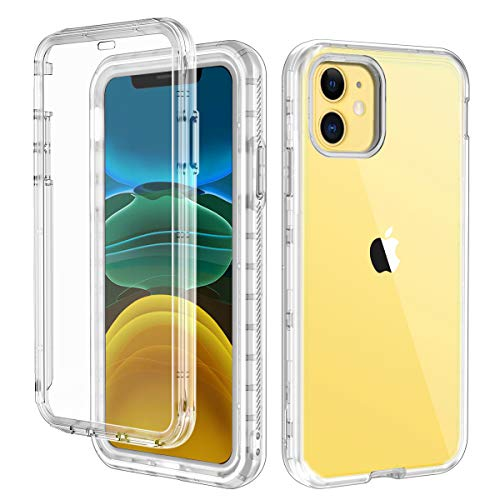 Lontect Compatible iPhone 11 Case Built-in Screen Protector Crystal Clear Heavy Duty Shockproof Hybrid PC+Soft TPU Full Body Protective Case Cover for Apple iPhone 11 6.1 2019, Transparent (Screen Crystal Protector)
