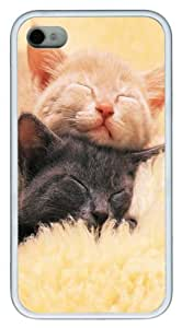 Black And Red Kittens Asleep PC hard Case Cover for iPhone 4 and iPhone 4s ?¡ìC White