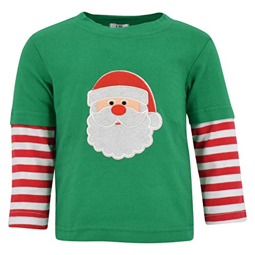 Unique Baby Unisex Layered Christmas Santa Shirt (12 Months) Green (Layered Green Tee)