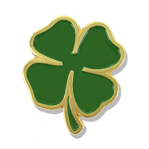 (1 Inch Four Leaf Clover Lapel Pin - Package of 12, Poly Bagged)