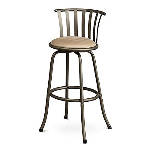 Poundex PDEX-F1431 Bobkona Lorelei 29 Seat Height Swivel Bar Stool, Brown, Set of 2