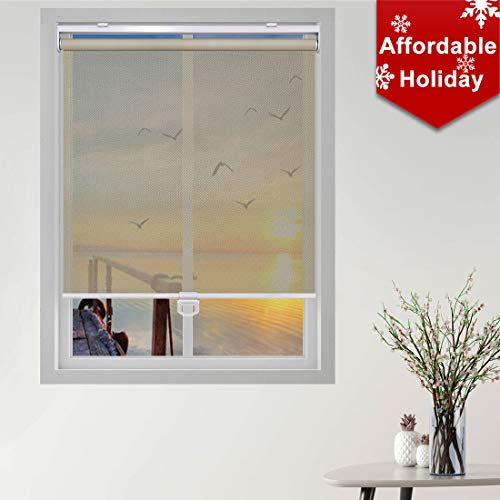 Keego Custom Cordless Light Filtering Privacy Window Shades, Free-Stop Spring Roller Blinds for Windows for Living Room/Bedroom/Nursery/Office and More [Beige Light Filtering,39″ W x 60″ H(Inch)]