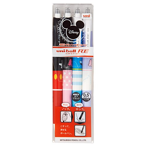 \2017 NEW/ UNI uni-ball RE 0.5mm Disney Series Erasable Gel Ink Roller Ball 4 Pens Ink Black Set(URN-200D-05 4C)