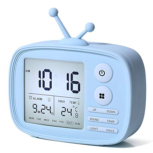 Alarm Clock for Kids, One Fire LED Digital Alarm Clock with Snooze Function Wake Up Light with 5 Loud Sounds, Easy to Operate Time Memory Temperature Display and USB Charging Port Boys Gifts (Blue)