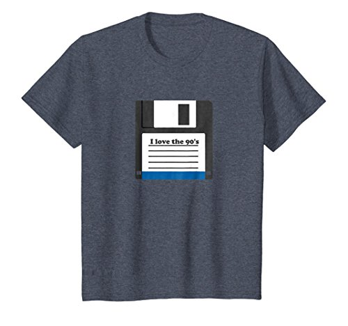 Price comparison product image Kids I Love The 90s T-Shirt Computer Floppy Disk Tee-Shirt 8 Heather Blue