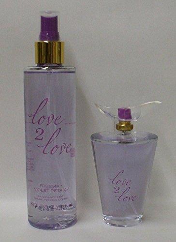 2 Piece Bundle ~ Love 2 Love 8 oz. Fragrance Mist & 3.4 oz Eau De Toilette Spray, Freesia + Violet (Britney Spears 2 Piece)