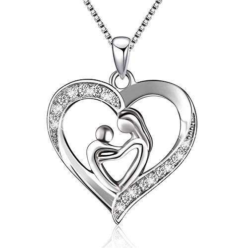 Crystal Love Heart Pendant Necklace for Women Girls Kids 925 Sterling Silver 14K White Gold Plated CZ Mother Child Infinity I Love You Forever Mom Y Box Chain 18
