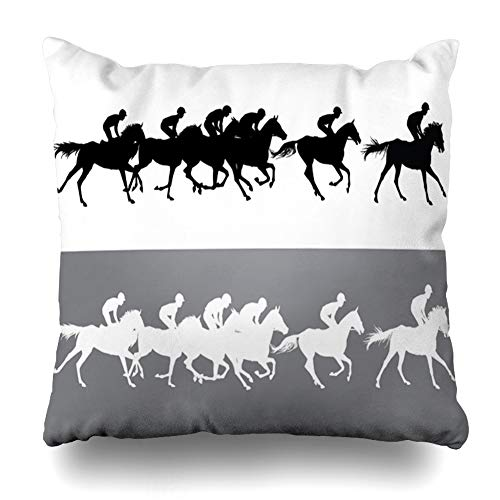 Ahawoso Throw Pillow Covers Speed Race Horse Racing Jockeys On Horses Galloping Sports Recreation Activity Rider Derby Home Decor Pillow Case Square Size 16 x 16 Inches Zippered Pillowcase
