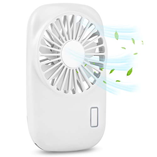 Accering Mini Portable Fans Battery Operated, Pocket Fan/Handheld Fan/Personal Fan with 2 Speed Adjustable and USB Rechargeable for Travel Camping Outdoor - White