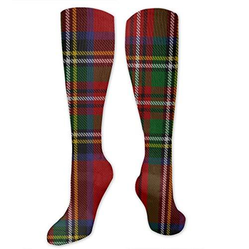 Royal Stewart Tartan Polyester Cotton Over Knee Leg High Socks Vintage Unisex Thigh Stockings Cosplay Boot Long Tube Socks for Sports Gym Yoga Hiking Cycling Running Football ()