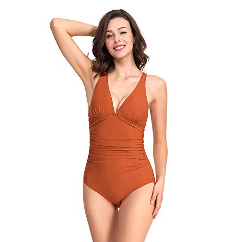 CASTDREAM Women's Girl's V-Neck Ruched Tankini Striped One Piece Swimsuits Brown Large CAS10008-12L