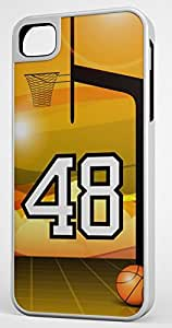 Basketball Sports Fan Player Number 48 White Rubber Hybrid Tough Case Decorative iPhone 4/4s Case