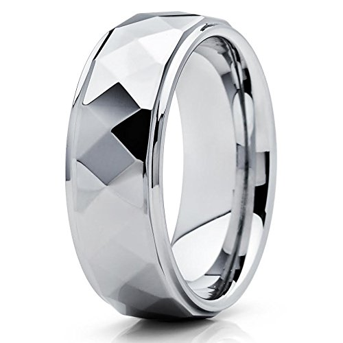 8mm High Polish Silver Tungsten Carbide Wedding Ring Multi Faceted Design Shiny Unisex Band 9
