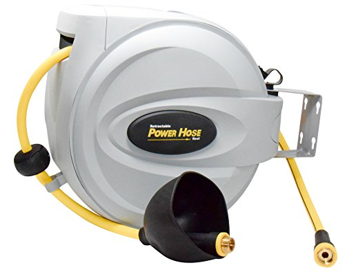 "Power Retractable Hose Reel 5/8"" x 75 ft, Super Heavy Duty, 500 PSI Burst Strength, 3 Layer Hybrid Hose"